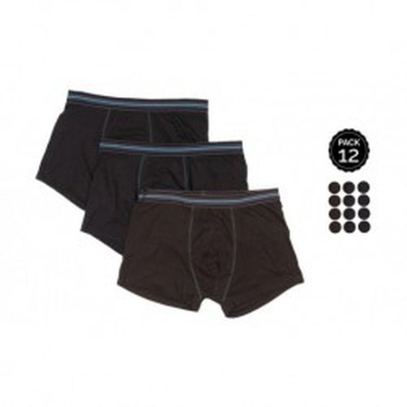 Set 12 Boxers MARGINAL Negro - 65% polyester 35% algodón - Talla L