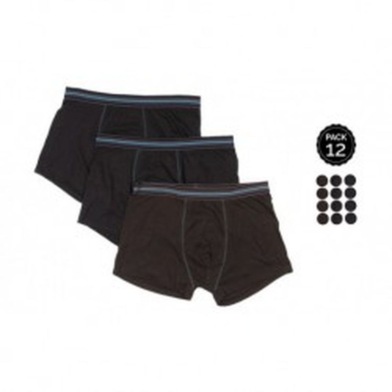 Set 12 Boxers MARGINAL Negro - 65% polyester 35% algodón - Talla M