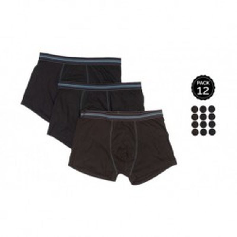 Set 12 Boxers MARGINAL Negro - 65% polyester 35% algodón - Talla S