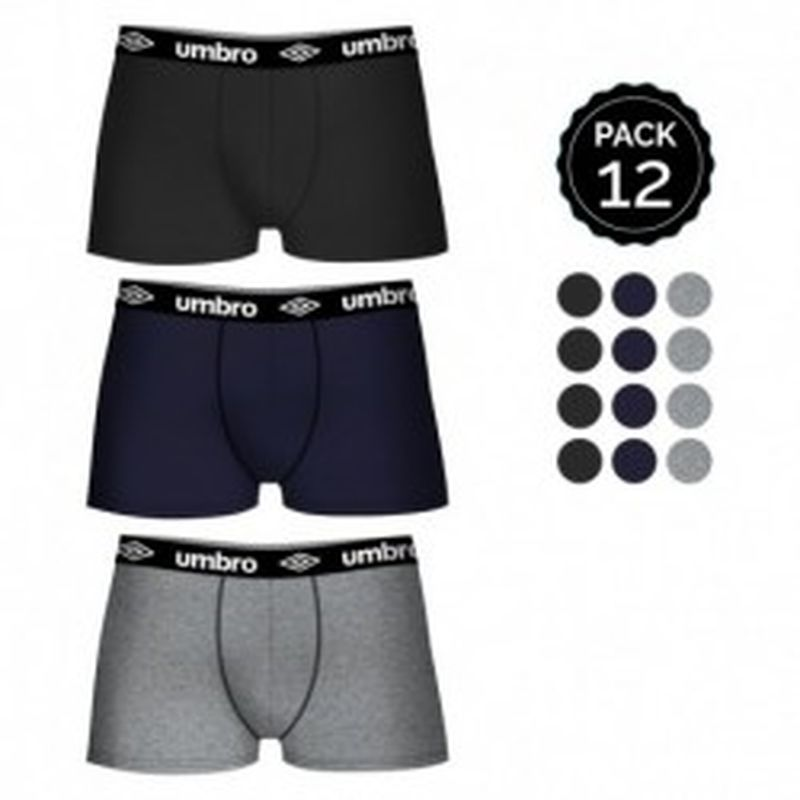 Set 12 Boxers UMBRO 4Negro/4Gris/4Marino 100% algodón (salvo gris: 65% polyester 35% algodón)- Talla XXL