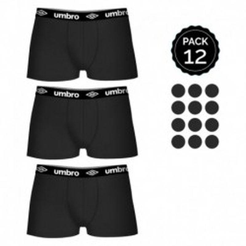 Set 12 Boxers UMBRO Negro - 100% algodón - Talla XL