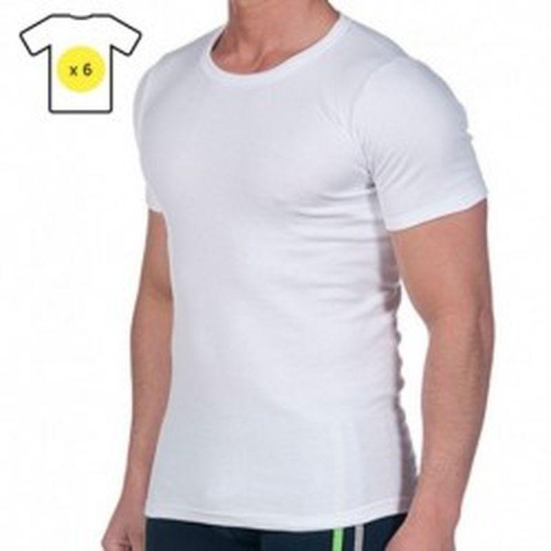 Set de 6 camisetas m/corta interior Thermal - blanco