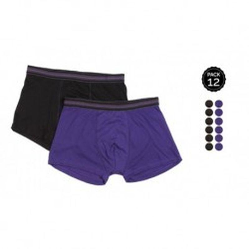 Set 12 Boxers MARGINAL 8Negro+4Morado - 65% polyester 35% algodón - Talla S