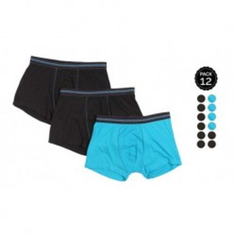 Set 12 Boxers MARGINAL 8Negro+4Azul - 65% polyester 35% algodón - Talla M