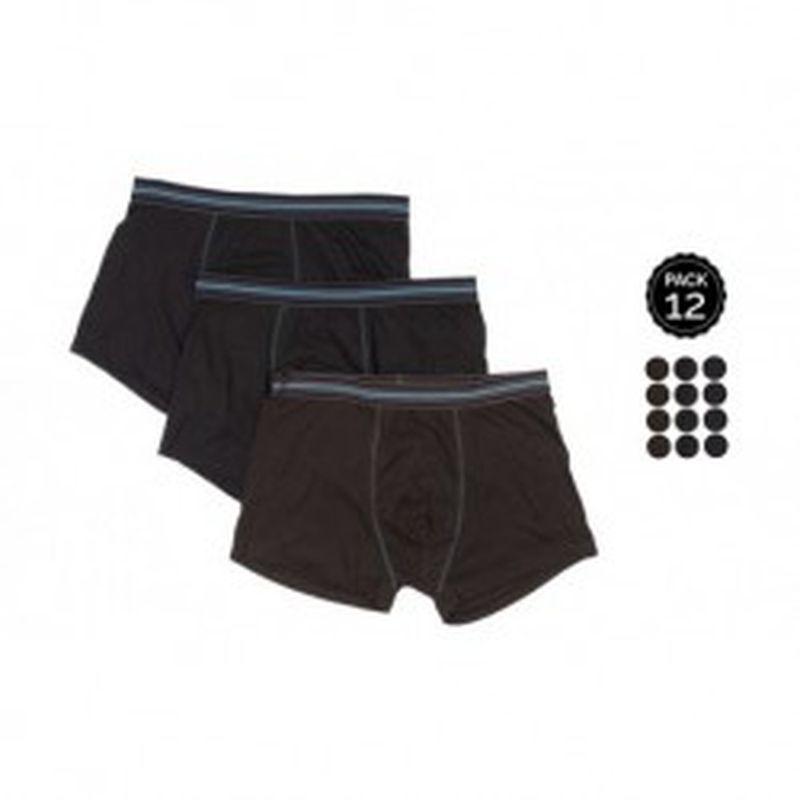 Set 12 Boxers MARGINAL Negro - 65% polyester 35% algodón - Talla XL