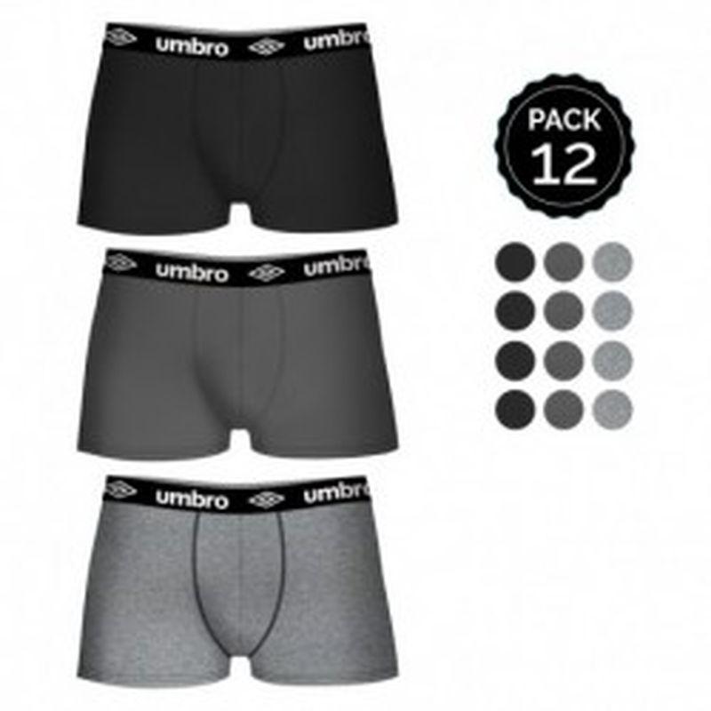 Set 12 Boxers UMBRO Negro/Cobalto/Gris - 100% algodón (Gris 65% polyester 35% algodón) - Talla L