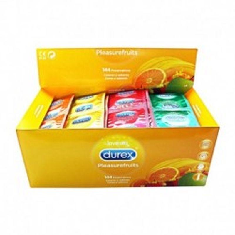 Preservativos DUREX - Pleasure fruits - caja gran formato 144 uds. - lisos, coloridos, lubricados, con sabor y con depósito.