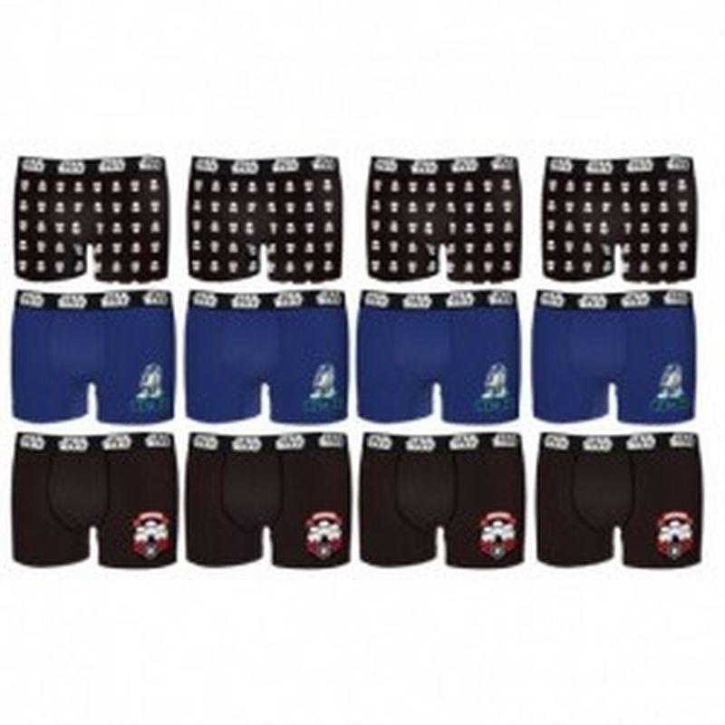 Set de 12 boxers INFANTIL Star Wars - 35% algodón / 65% poliéster - diseños variados, Talla 12 /14