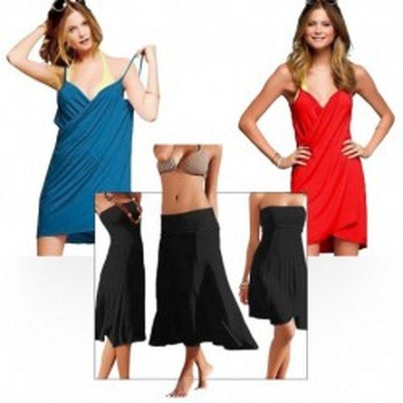 Set 2 pareos Towel en turquesa y rojo y 1 pareo Skirt en negro
