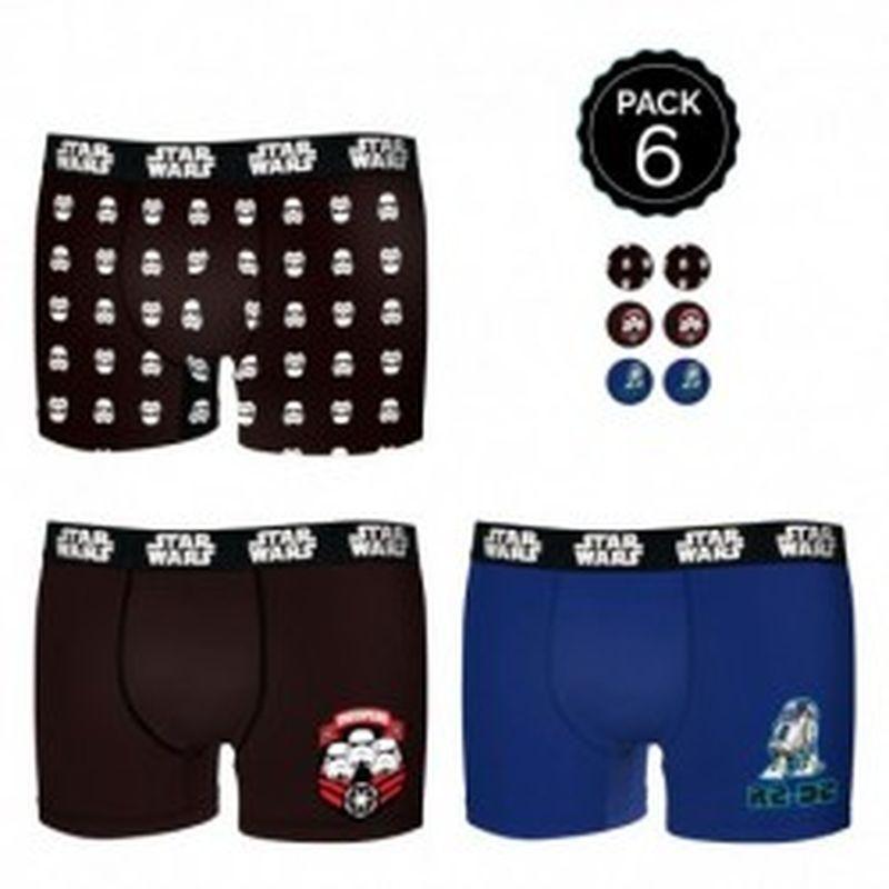 Set de 6 boxers INFANTIL Star Wars - 35% algodón / 65% poliéster - diseños variados, Talla 14/16