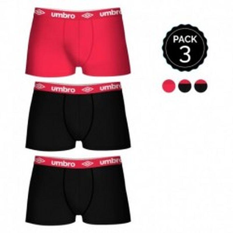 Set de 3 boxers UMBRO multicolor - 100% algodón - color negro(x2)/rojo(1)