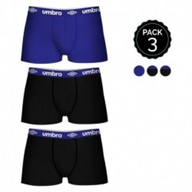 Set de 3 boxers UMBRO multicolor - 100% algodón - color negro(x2)/azul(1)