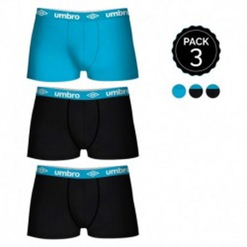 Set de 3 boxers UMBRO multicolor - 100% algodón - color negro(x2)/celeste(1)