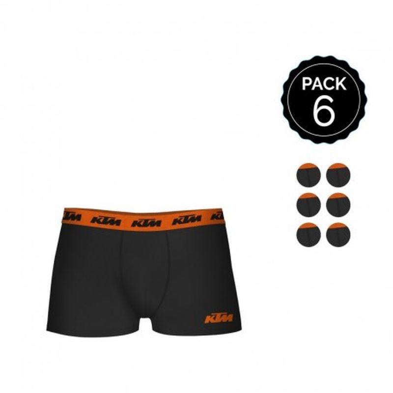 Set de 6 boxers KTM adulto - color negro - 95% algodón - Talla S