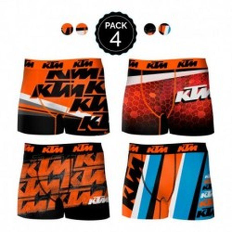Set de 4 Boxer KTM - microfibra (92% poliéster - 8% elastano) - multicolor
