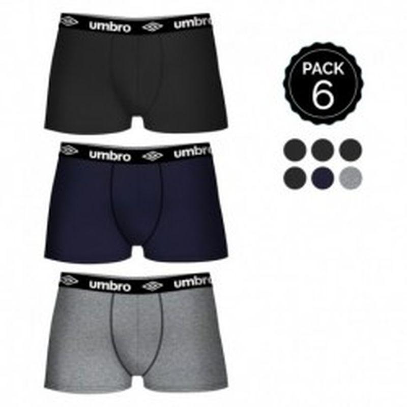 Set de 6 boxers UMBRO (6MULTICOLOR) - 100% algodón (gris: 35% algodón / 65% poliéster) - color negro(4)/gris(1)/marino(1)
