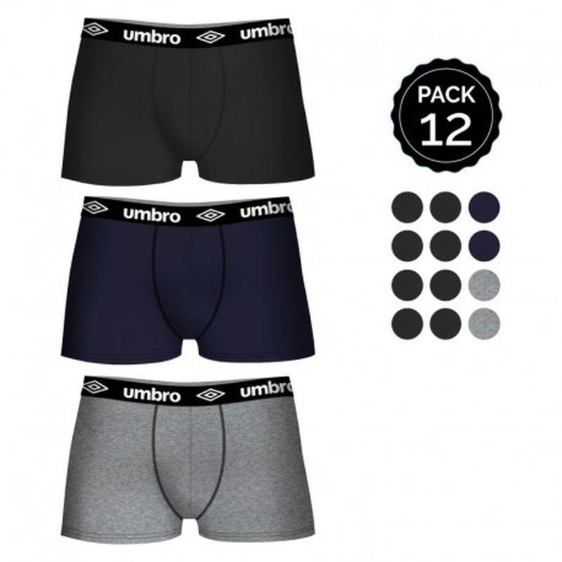 Set de 12 boxers UMBRO (12MULTICOLOR)  - color negro(8)/gris(2)/marino(2)