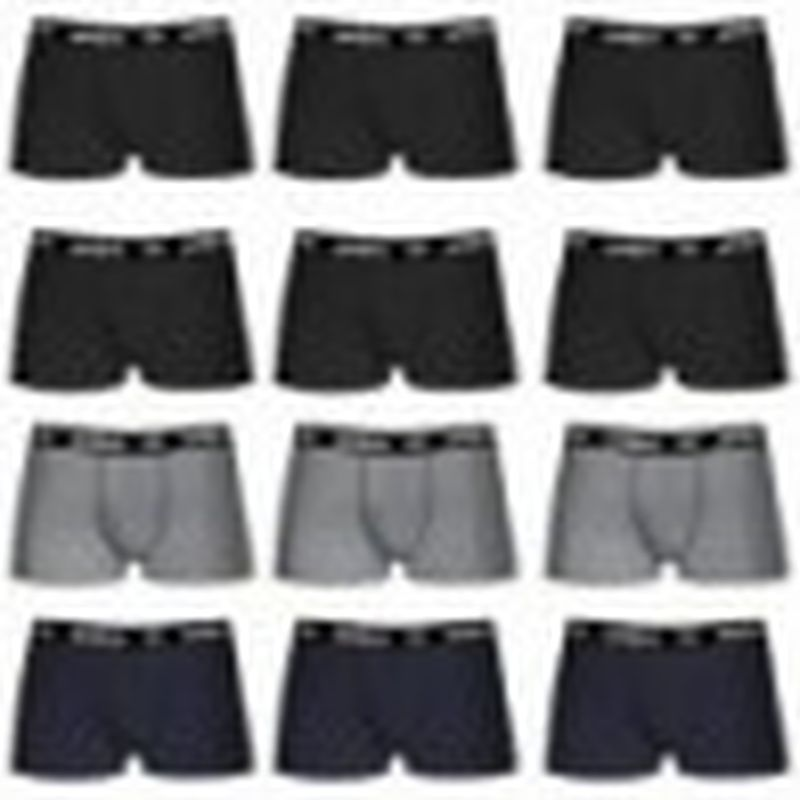 Set de 12 boxers UMBRO - microfibra - 100% algodón - Negro(x6)/Gris(3)/Azul(3)