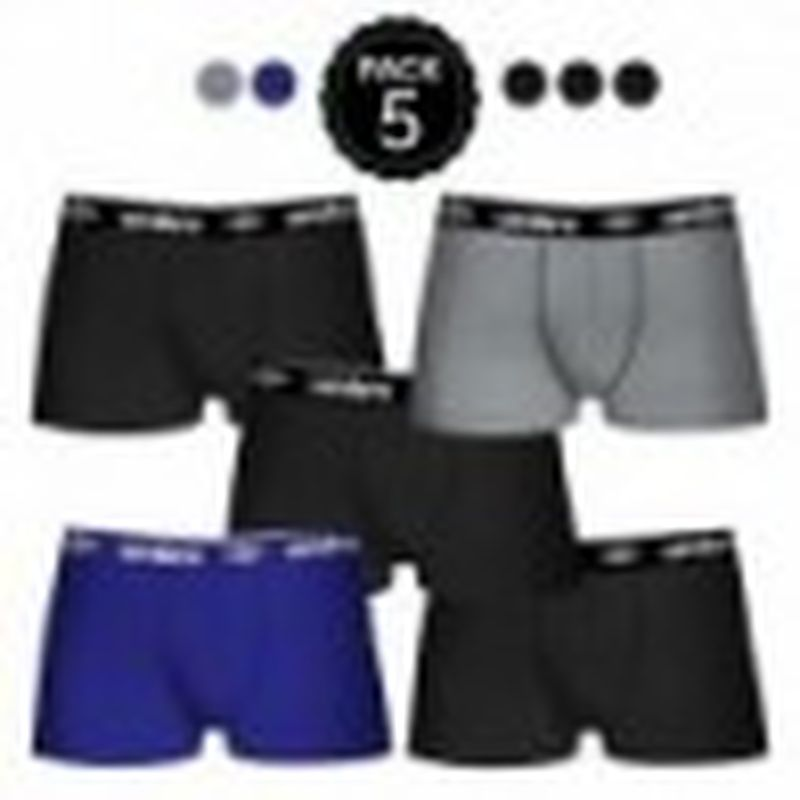 Set de 5 boxers UMBRO (5MULTICOLOR) - 100% algodón (gris: 35% algodón / 65% poliéster) - color negro(3)/gris(1)/azul(1)