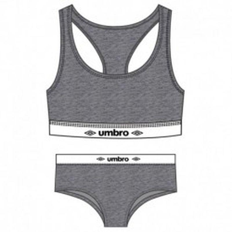 Set Sujetador gris UMBRO & Slip deportivo femenino gris UMBRO S