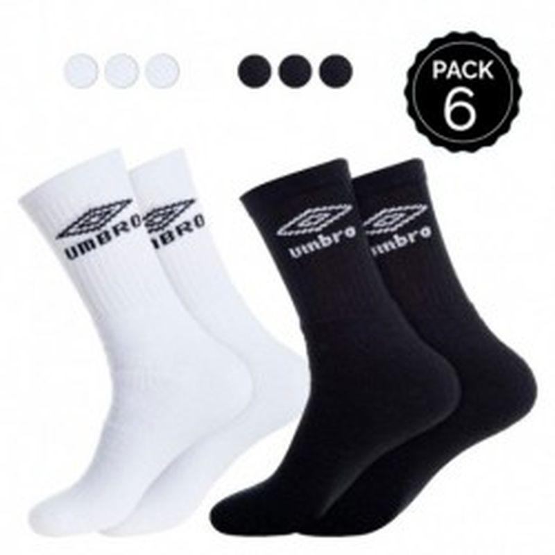"""39/42 Set 6P calcetines """"tenis"""" UMBRO 3p negros + 3p blancos - talla 39/42"""