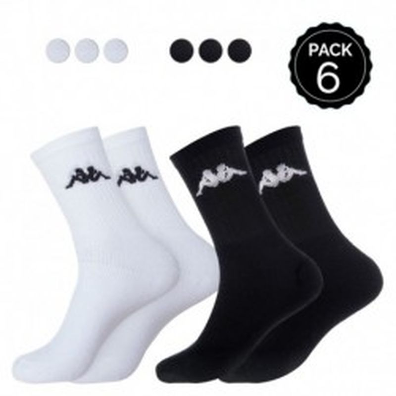 "39/42 Set 6P calcetines ""tenis"" KAPPA (3p blancos + 3p negros) - talla 39/42"