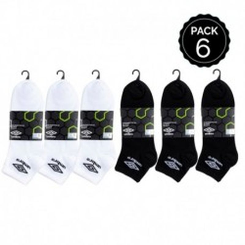 39/42 Set 6 pares calcetines invisibles, blancos y negros , UMBRO