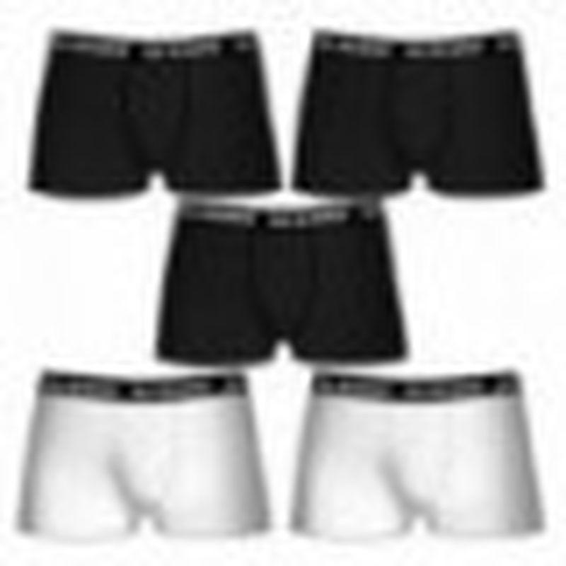 Set 5 boxers ALL BLACKS - 3 negro/2 blanco - 100% algodón