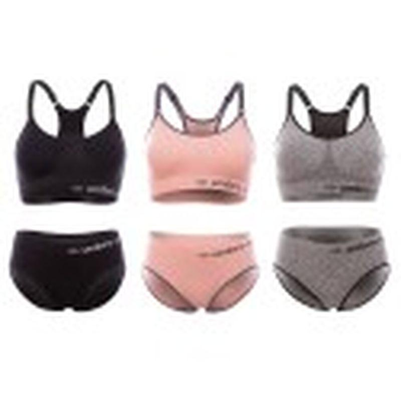 Set 3 juegos Sujetador&Slip deportivo femenino, negro/gris/rosa, sin costuras