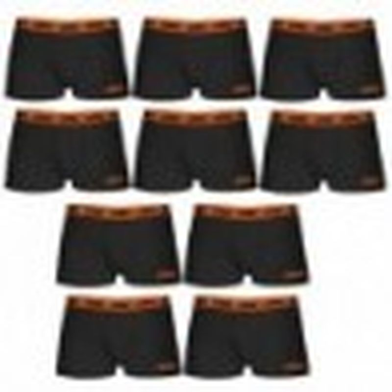Boxer KTM - Set 10 boxer microfibra (60% poliéster - 35% algodón - 5% elastano) - negros con cintura naranja