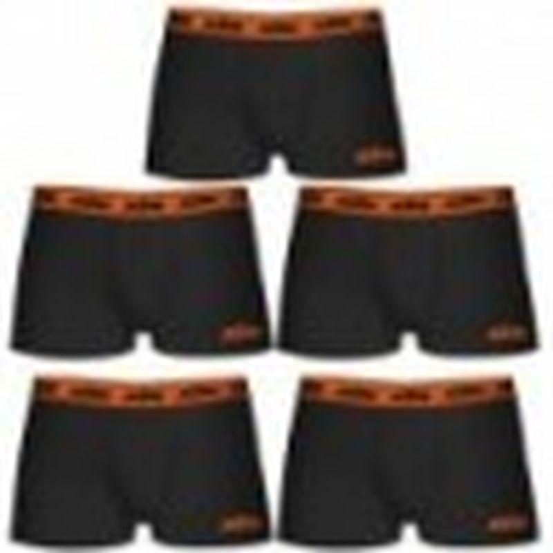 Boxer KTM - Set 5 boxer microfibra (60% poliéster - 35% algodón - 5% elastano) - negros con cintura naranja