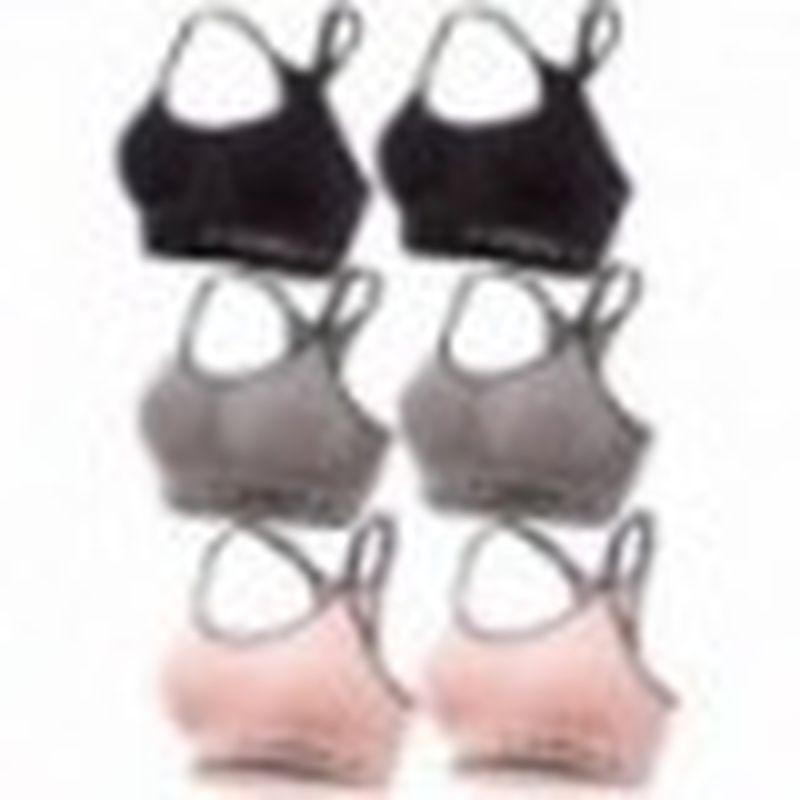 Set 6 juegos Sujetador deportivo femenino, negro/gris/rosa, sin costuras