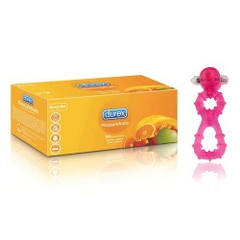 Set preservativos DUREX - Pleasure fruits - y estimulador clítoris / anillo pene