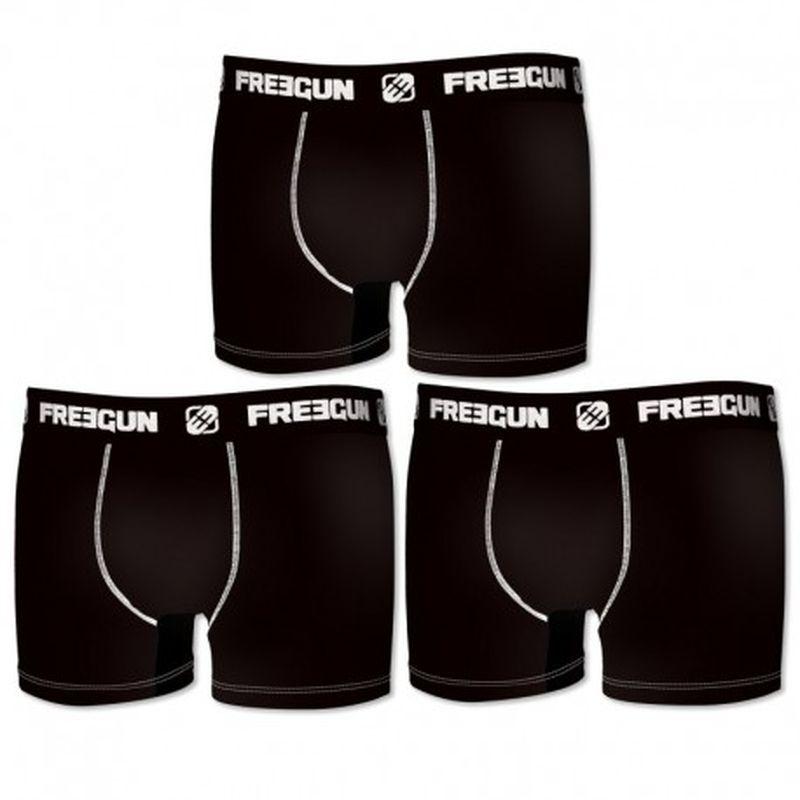 Set 3pcs en negro - Boxers para hombre, en 95% algodón 5% elastano  - FREEGUN
