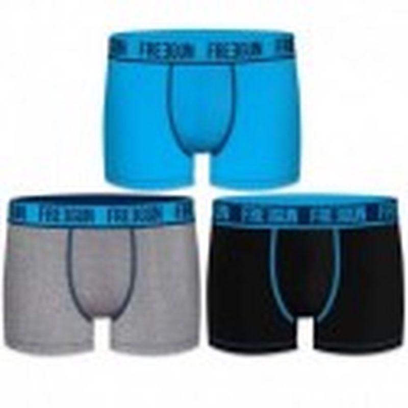 Set 3pcs en negro / azul / gris - Boxers para hombre, en 95% algodón 5% elastano  - FREEGUN