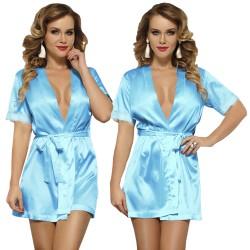 Bata Kimono Backless Azul
