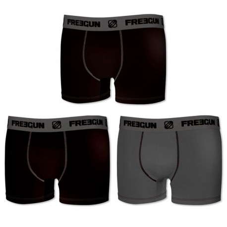 Set 3pcs en negro / gris - Boxers para hombre, en 95% algodón 5% elastano  - FREEGUN