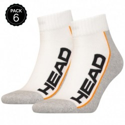 39/42 Set 6 pares - calcetines tobilleros HEAD - unisex - Blanco/Gris - talla 39/42