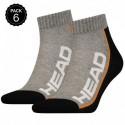 35/38 Set 6 pares - calcetines tobilleros HEAD - unisex - Gris/Negro - talla 35/38