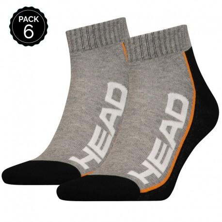 39/42 Set 6 pares - calcetines tobilleros HEAD - unisex - Gris/Negro - talla 39/42