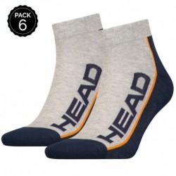 35/38 Set 6 pares - calcetines tobilleros HEAD - unisex - Gris/Marino - talla 35/38