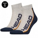 39/42 Set 6 pares - calcetines tobilleros HEAD - unisex - Gris/Marino - talla 39/42