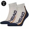 43/45 Set 6 pares - calcetines tobilleros HEAD - unisex - Gris/Marino - talla 43/45