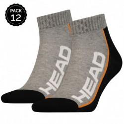 35/38 Set 12 pares - calcetines tobilleros HEAD - unisex - Gris/Negro - talla 35/38