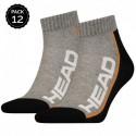 39/42 Set 12 pares - calcetines tobilleros HEAD - unisex - Gris/Negro - talla 39/42