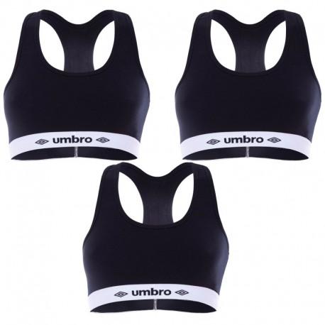 Talla M: Pack de 3 Sujetador deportivo negro UMBRO M