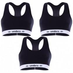 Talla S: Pack de 3 Sujetador deportivo negro UMBRO S