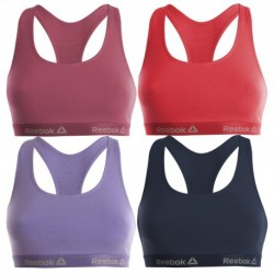 Talla M: Pack de 4 Top deportivo para mujer Rosa fuerte / Rosa / Lila / Marino - 95% algodón 5% elastano