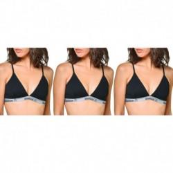 Talla L: Pack de 3 Top deportivo para mujer Negro - 95% algodón 5% elastano