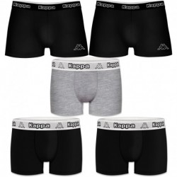 Talla L: Set 5pcs Boxers KAPPA - negro y multicolor - 95% algodón
